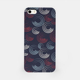 Miniatur Blue and Red Circular Strokes On Dark Blue  iPhone Case, Live Heroes