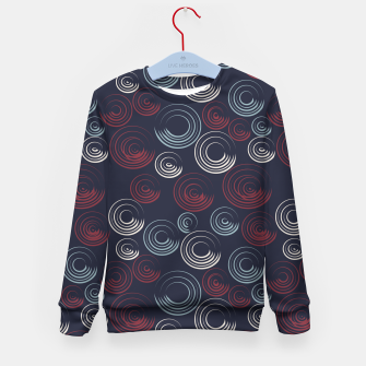 Miniatur Blue and Red Circular Strokes On Dark Blue  Kid's sweater, Live Heroes