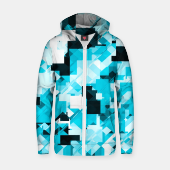 Miniaturka geometric square pixel pattern abstract background in blue and black Zip up hoodie, Live Heroes