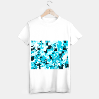 Miniatur geometric square pixel pattern abstract background in blue and black T-shirt regular, Live Heroes