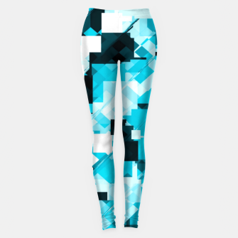 Miniatur geometric square pixel pattern abstract background in blue and black Leggings, Live Heroes
