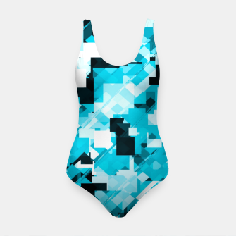 Miniature de image de geometric square pixel pattern abstract background in blue and black Swimsuit, Live Heroes
