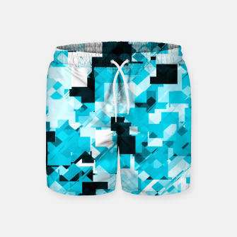 Miniatur geometric square pixel pattern abstract background in blue and black Swim Shorts, Live Heroes