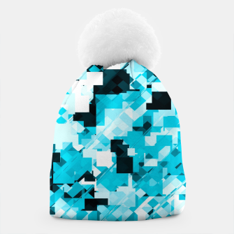 Miniaturka geometric square pixel pattern abstract background in blue and black Beanie, Live Heroes