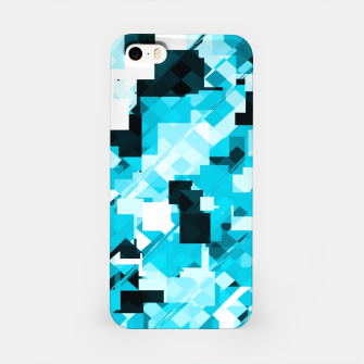Miniatur geometric square pixel pattern abstract background in blue and black iPhone Case, Live Heroes