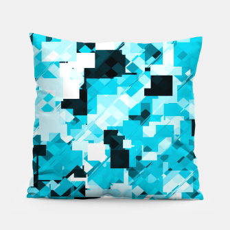 Miniaturka geometric square pixel pattern abstract background in blue and black Pillow, Live Heroes