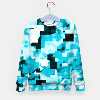 Miniatur geometric square pixel pattern abstract background in blue and black Kid's sweater, Live Heroes