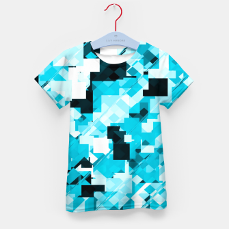 Miniatur geometric square pixel pattern abstract background in blue and black Kid's t-shirt, Live Heroes