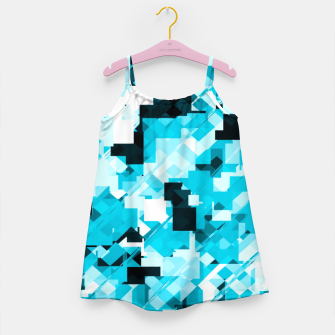 Miniaturka geometric square pixel pattern abstract background in blue and black Girl's dress, Live Heroes