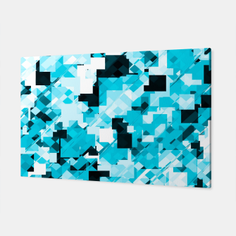 Miniaturka geometric square pixel pattern abstract background in blue and black Canvas, Live Heroes