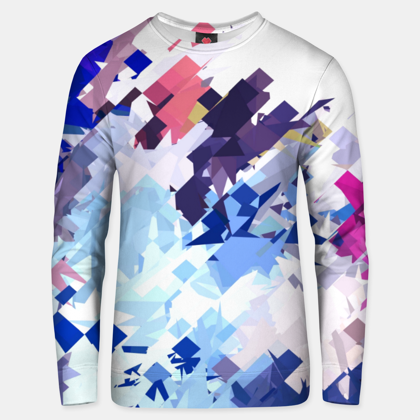 Image of splash geometric pattern abstract background in blue pink purple Unisex sweater - Live Heroes