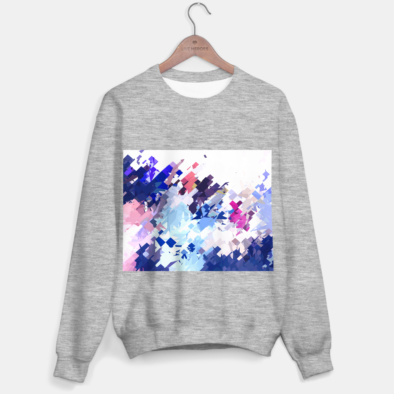 Image of splash geometric pattern abstract background in blue pink purple Sweater regular - Live Heroes