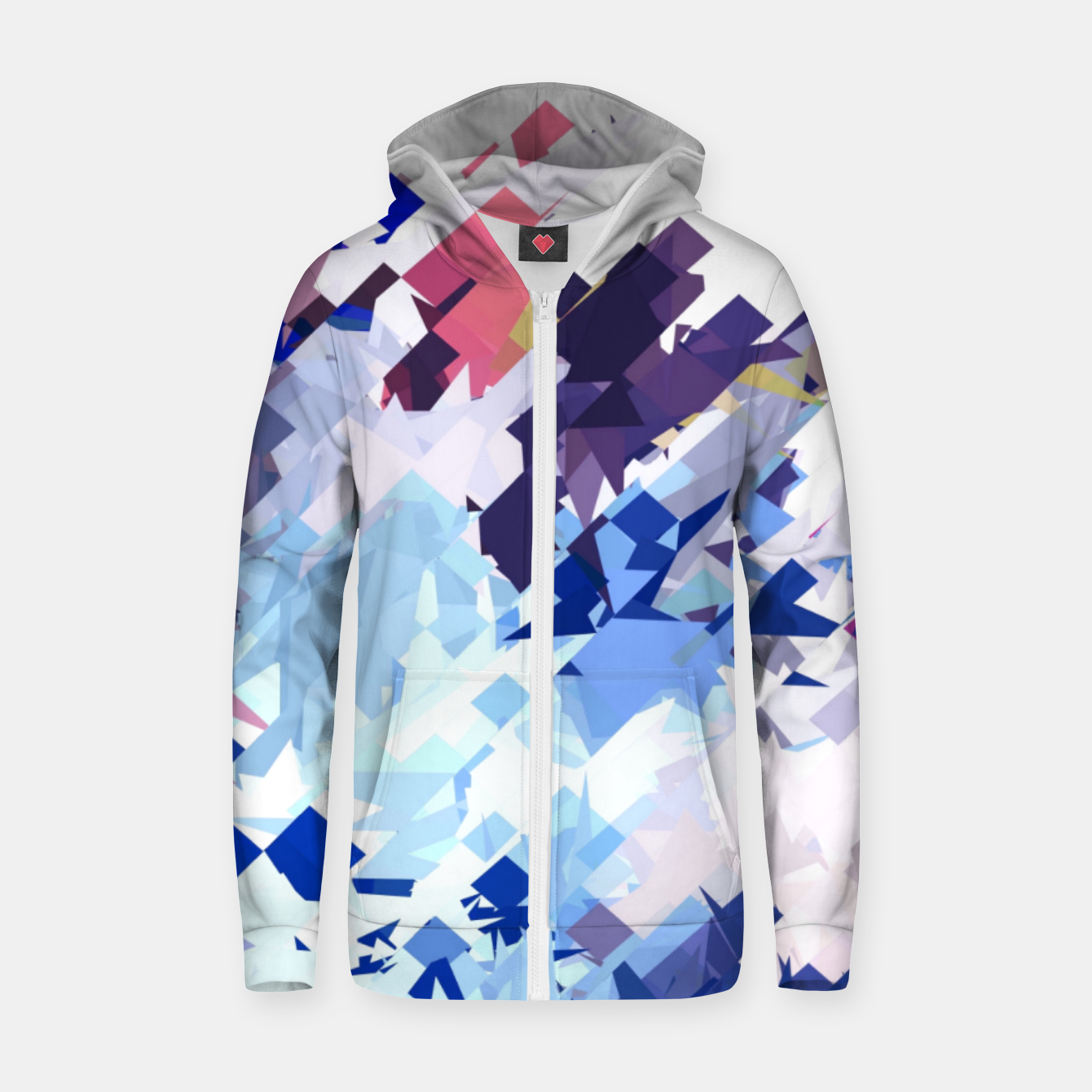 Image of splash geometric pattern abstract background in blue pink purple Zip up hoodie - Live Heroes