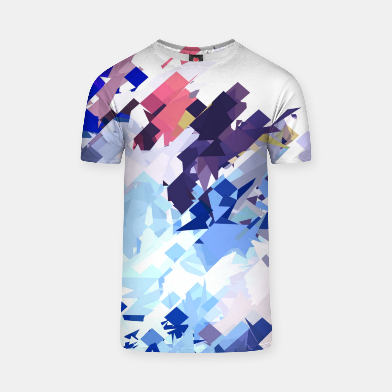 Image of splash geometric pattern abstract background in blue pink purple T-shirt - Live Heroes