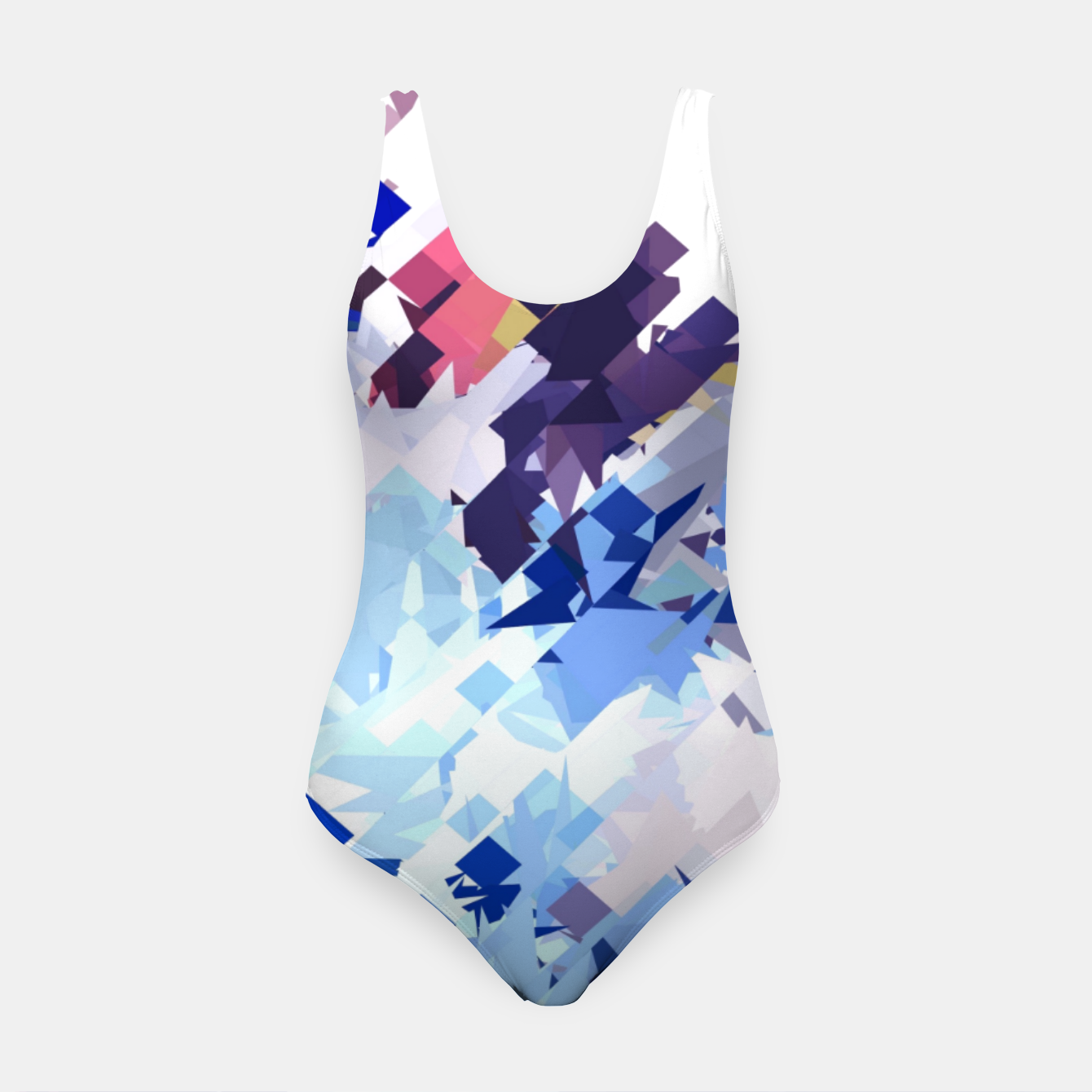Image of splash geometric pattern abstract background in blue pink purple Swimsuit - Live Heroes