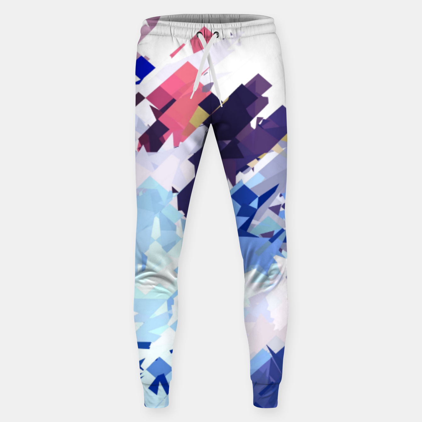 Image of splash geometric pattern abstract background in blue pink purple Sweatpants - Live Heroes