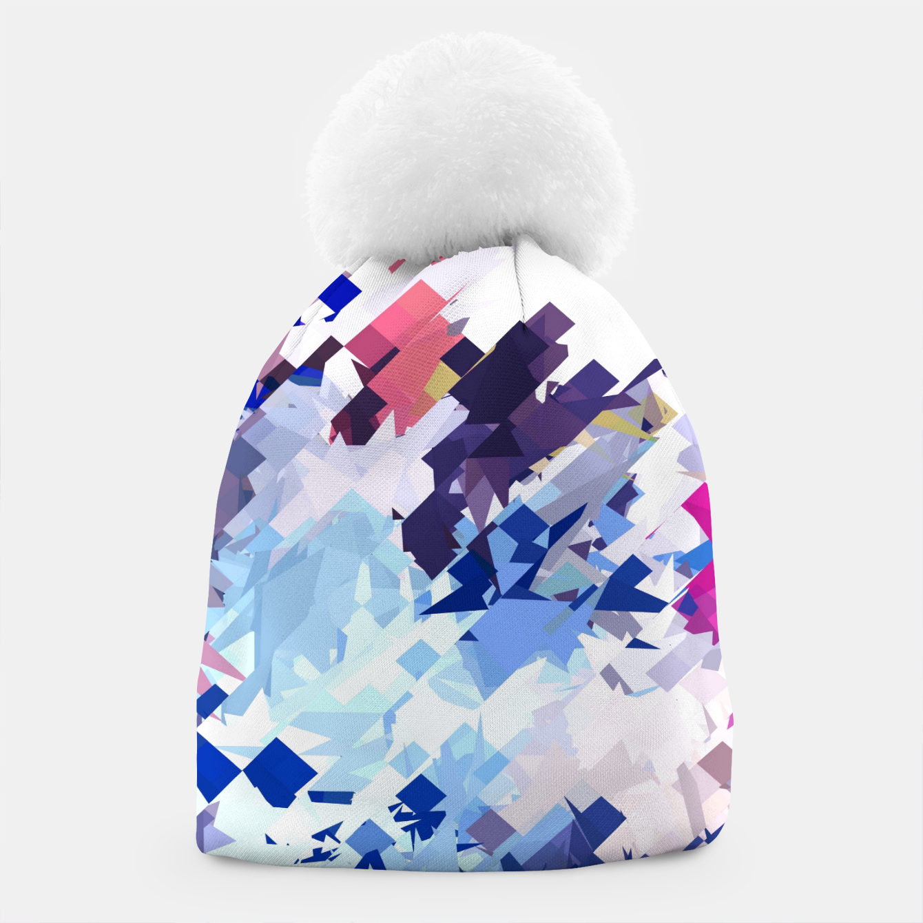 Image of splash geometric pattern abstract background in blue pink purple Beanie - Live Heroes