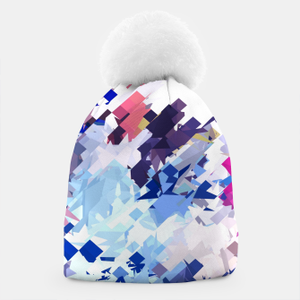 splash geometric pattern abstract background in blue pink purple Beanie thumbnail image
