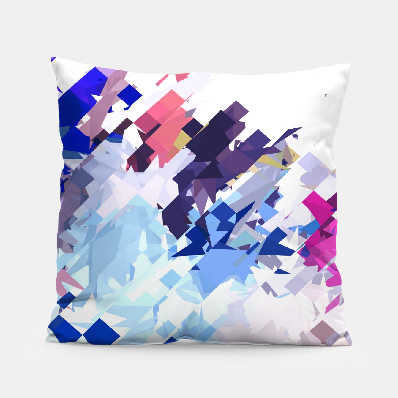 Image of splash geometric pattern abstract background in blue pink purple Pillow - Live Heroes