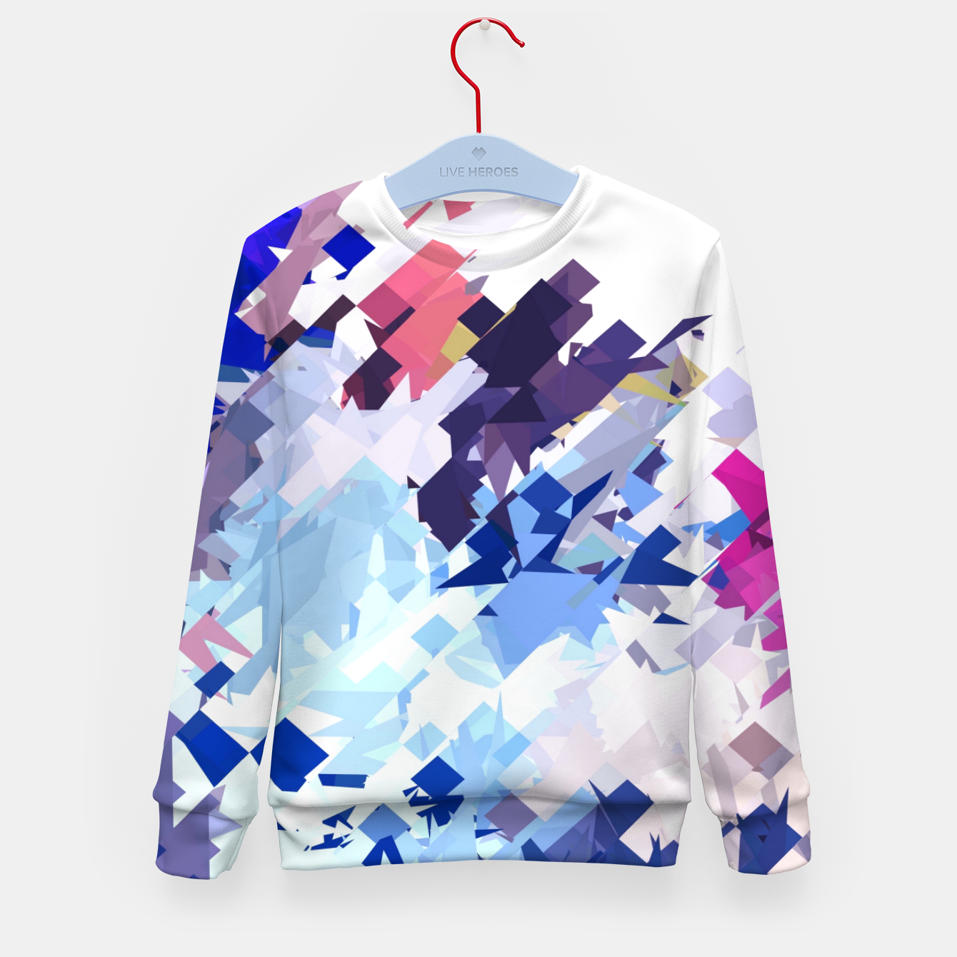 Image of splash geometric pattern abstract background in blue pink purple Kid's sweater - Live Heroes