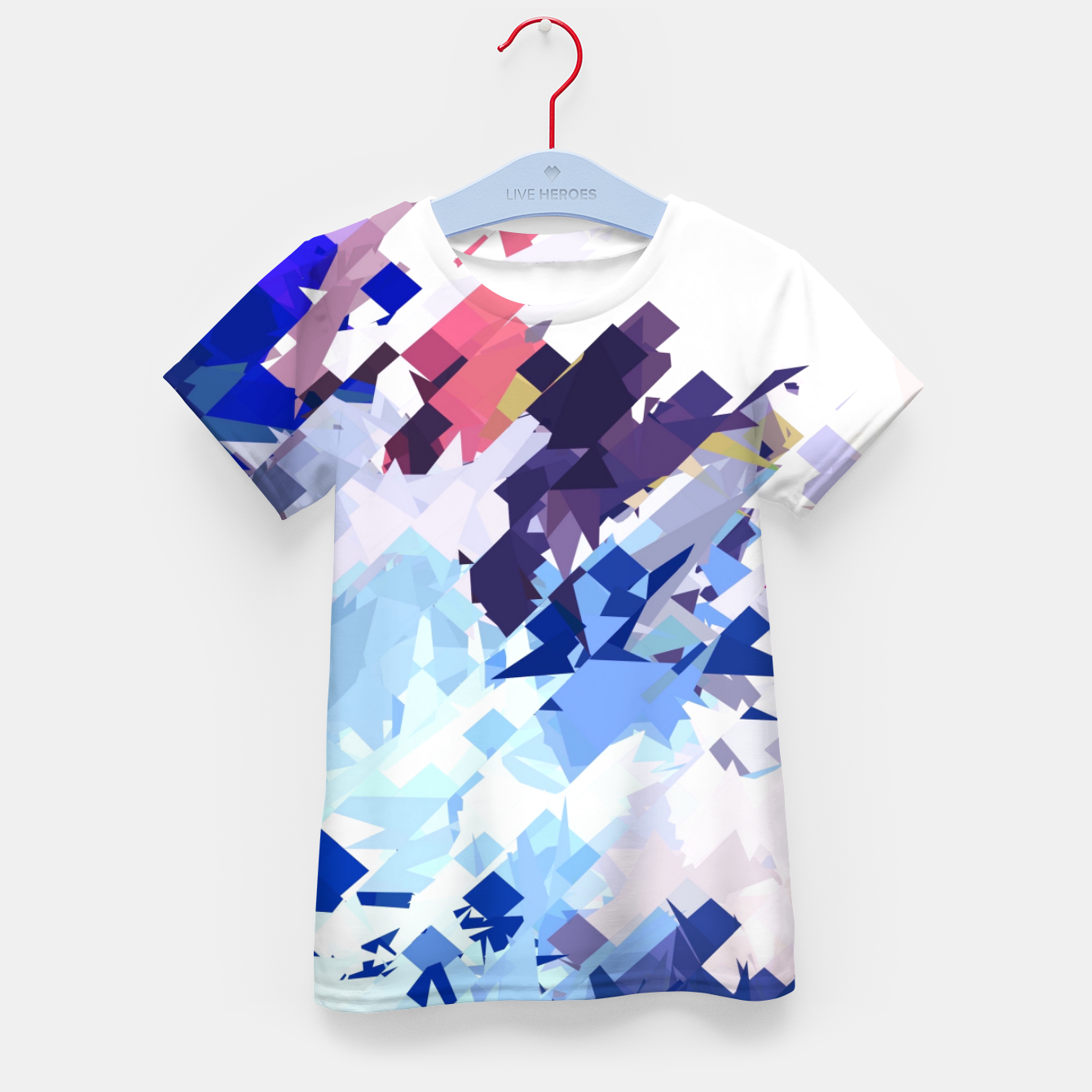 Image of splash geometric pattern abstract background in blue pink purple Kid's t-shirt - Live Heroes