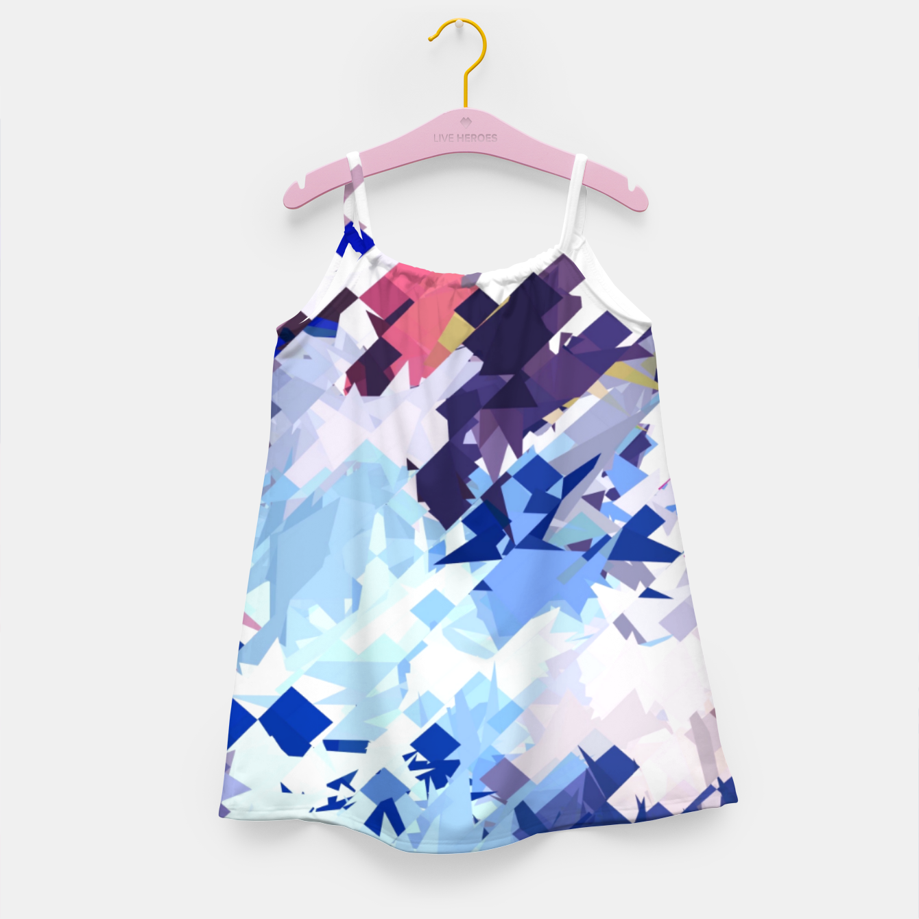 Image of splash geometric pattern abstract background in blue pink purple Girl's dress - Live Heroes