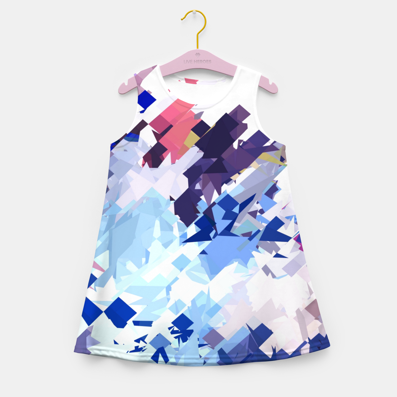 Image of splash geometric pattern abstract background in blue pink purple Girl's summer dress - Live Heroes
