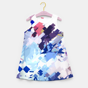 splash geometric pattern abstract background in blue pink purple Girl's summer dress thumbnail image