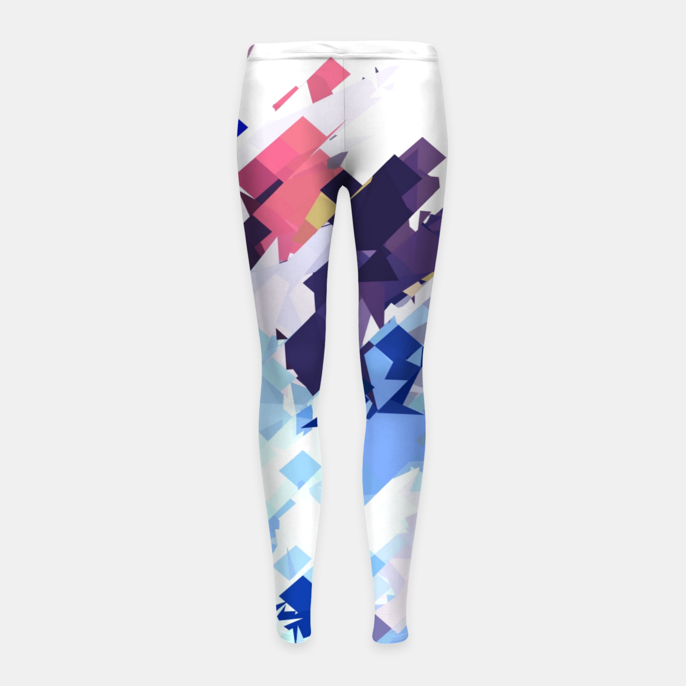 Image of splash geometric pattern abstract background in blue pink purple Girl's leggings - Live Heroes