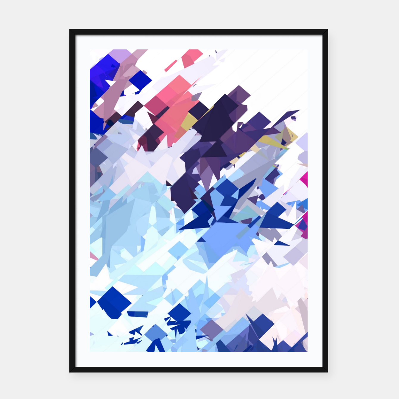 Image of splash geometric pattern abstract background in blue pink purple Framed poster - Live Heroes