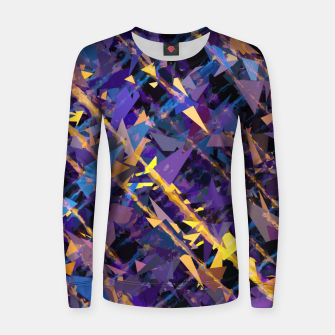 Miniatur splash geometric triangle pattern abstract background in blue purple yellow Women sweater, Live Heroes