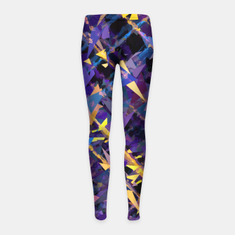 Miniaturka splash geometric triangle pattern abstract background in blue purple yellow Girl's leggings, Live Heroes