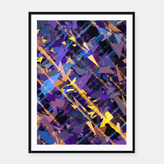 Miniaturka splash geometric triangle pattern abstract background in blue purple yellow Framed poster, Live Heroes