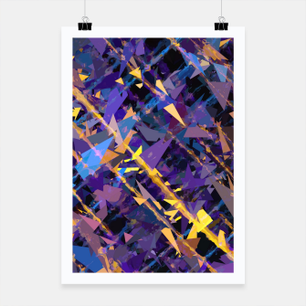 Miniaturka splash geometric triangle pattern abstract background in blue purple yellow Poster, Live Heroes