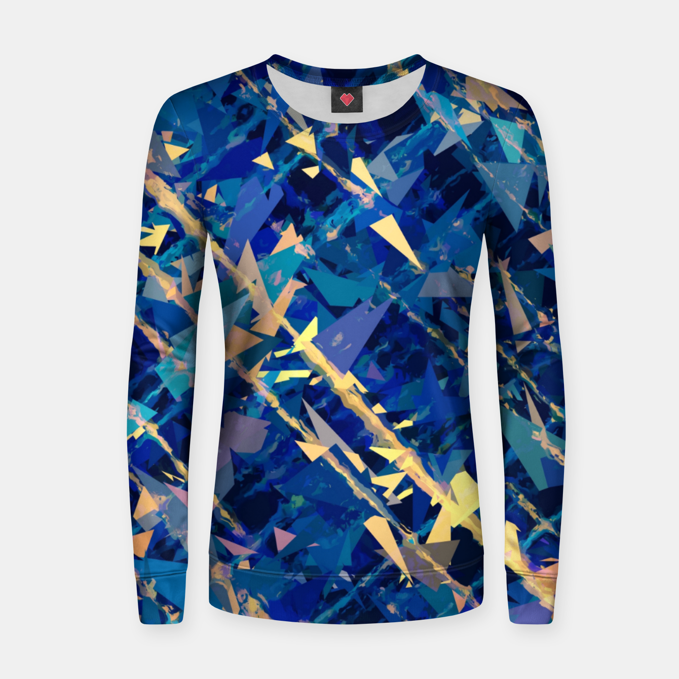 8d58786298a5 splash geometric triangle pattern abstract background in blue and yellow  Women sweater