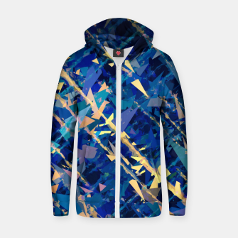 Miniaturka splash geometric triangle pattern abstract background in blue and yellow Zip up hoodie, Live Heroes