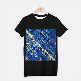 Miniaturka splash geometric triangle pattern abstract background in blue and yellow T-shirt regular, Live Heroes
