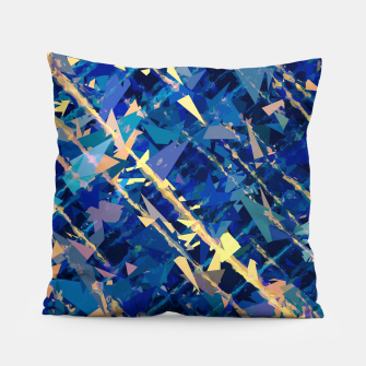 Miniaturka splash geometric triangle pattern abstract background in blue and yellow Pillow, Live Heroes