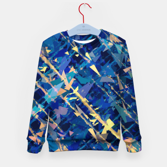 Miniaturka splash geometric triangle pattern abstract background in blue and yellow Kid's sweater, Live Heroes