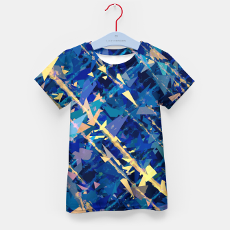 Miniaturka splash geometric triangle pattern abstract background in blue and yellow Kid's t-shirt, Live Heroes