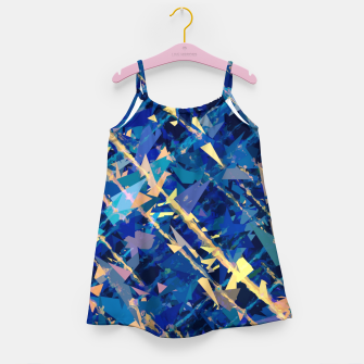 Miniaturka splash geometric triangle pattern abstract background in blue and yellow Girl's dress, Live Heroes