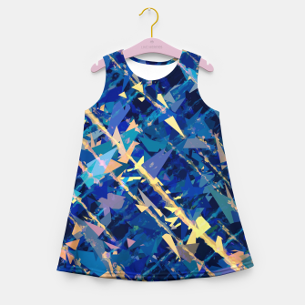 Miniaturka splash geometric triangle pattern abstract background in blue and yellow Girl's summer dress, Live Heroes