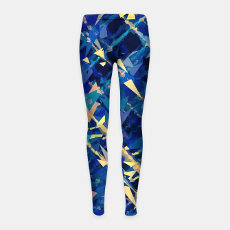 Miniaturka splash geometric triangle pattern abstract background in blue and yellow Girl's leggings, Live Heroes