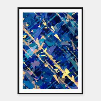 Miniaturka splash geometric triangle pattern abstract background in blue and yellow Framed poster, Live Heroes