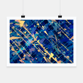 Miniaturka splash geometric triangle pattern abstract background in blue and yellow Poster, Live Heroes