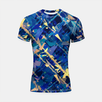 Miniaturka splash geometric triangle pattern abstract background in blue and yellow Shortsleeve rashguard, Live Heroes