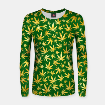 Miniatur Gold Weed Pattern Women sweater, Live Heroes