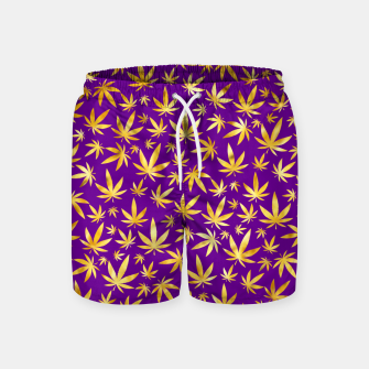 Thumbnail image of Gold Weed Pattern Swim Shorts, Live Heroes