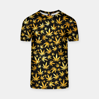 Thumbnail image of Black Gold Weed Pattern T-shirt, Live Heroes