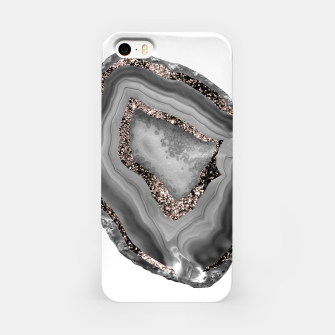 Miniatur Gray Agate Rose Gold Glitter Glam #1 #gem #decor #art  iPhone-Hülle, Live Heroes